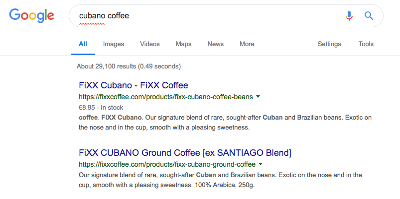 Fixx Coffee - search result