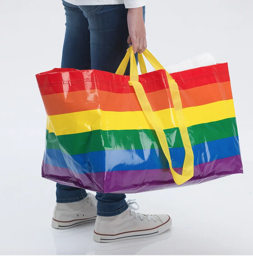 IKEA Rainbow pride bag carried by proud model